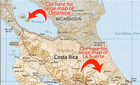 Map of Nicaragua and Costa Rica, with arrows pointing to both of Maderas Rainforest Conservancy field schools: Ometepe Biological Field School and La Suerte Biological Field School.